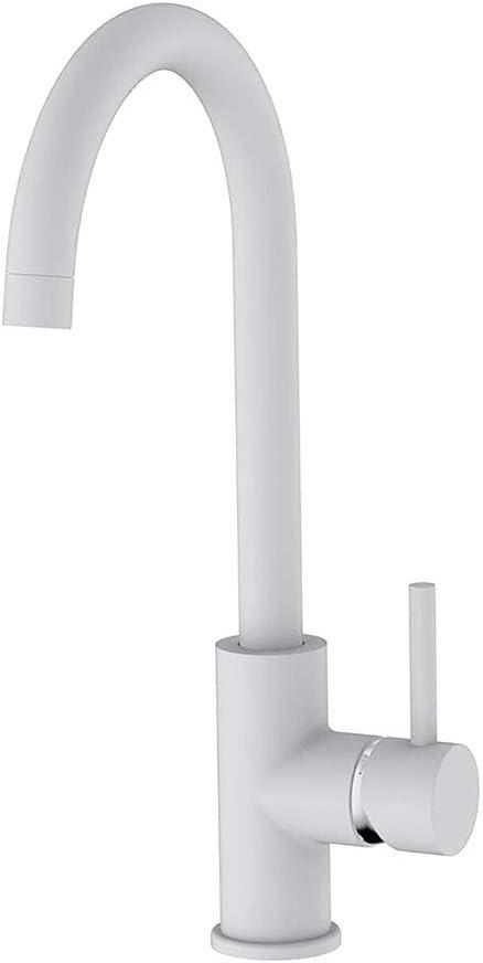 Kibath 450361 Grifo Monomando NIE caño Alto Lacado en Color Blanco Mate. Altura Total Desde la Base 36,5 cm. Ideal para fregaderos de Cocina o lavabos Altos Tipo Bol. Repuestos garantizados