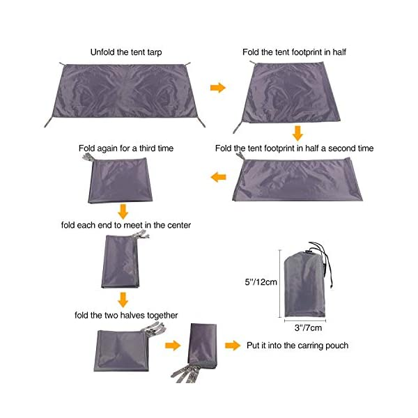 REDCAMP Waterproof Camping Tent Tarp - 90/140/180/210/240/270/300cm, 4 in 1 Tent Footprint Multifunctional for Camping Hiking Survival Tarp, Lightweight Compact 7