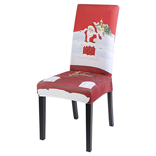 WUKCLK 1/2/4/6pcs Christmas Chair Cover Big Elastic Seat Chair Covers Xmas Stretch High Back Slipcovers for 2021 New Year Banquet Party-Q-1pc
