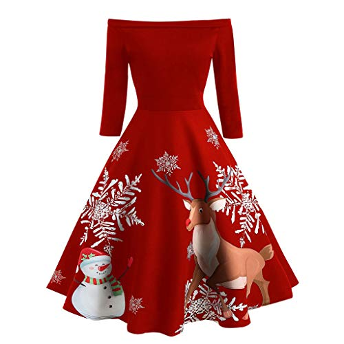 Damen Weihnachten Kleider Langarm Christmas Vintage Party Swing Kleid Gedrucktes Hepburn...