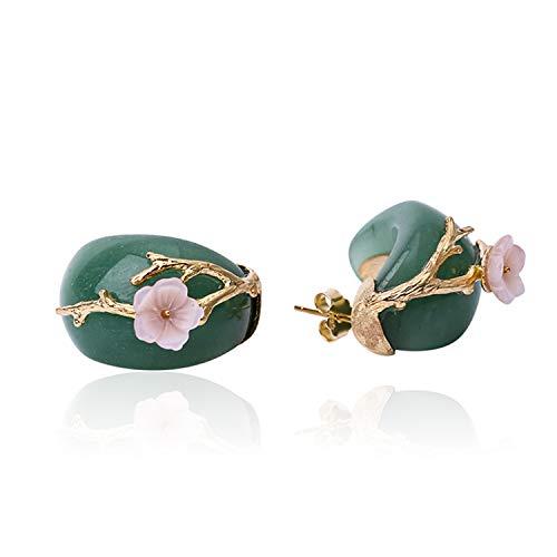 JIANGYUYAN - Orecchini in argento Sterling 925 a forma di fiore di prugna, con cristallo rosa naturale, fatti a mano, gioiello unico per donne e ragazze(Green-Gold)
