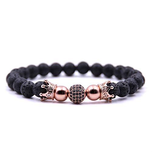 WHFDRHSZ Armband armbanden CZ Rose Gold dubbele kroon en bal Charm armband voor mannen of vrouwen armband sieraden