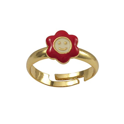 Ivy and Max Gold Finish Red and White Enamel Small Smiley Face Flower Ring, 5-6