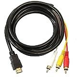 Tuimiyisou HDMI a RCA 3 HDMI a RCA Cable Adaptador convertidor de línea transmisor HDMI para la transmisión unidireccional RCA 1.5m