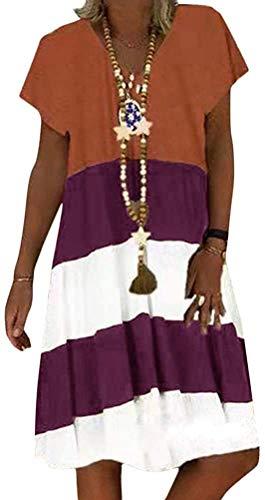 Sommerkleid Damen V-Ausschnitt Strandkleider Kurzarm A-Linie Patchwork Freizeitkleid MiniKleid Kleid (Orange, Large)