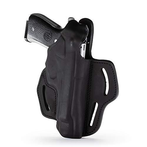 1791 – Beretta 92fs Thumb Break Holster – Right Handed OWB Leather Gun Holster – Fits Beretta 92FS, 90TWO, M9 / CZ 75,75b P07, P10, SP-01, P09 (BHX-4) (Stealth Black)