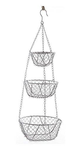 PEGANE Etagère Suspension en métal Gris avec 3 corbeilles, Ø 24 x H 72 cm