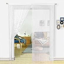 HSYLYM String Curtains for Living Room White Curtains Room Decor Beaded Door Curtains Decoration for Kitchen(100x200cm,White)