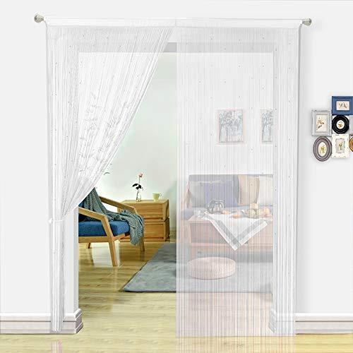 HSYLYM Pantalla de Cortinas de Cuerdas Cuentas,para decoración del hogar,poliéster,Blanco,90x245cm