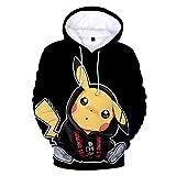 JiangJie Kawaii Männer/Frauen/Jugendliche Niedlich Anime Pokemon Go Pikachu Tier Cosplay Hoodie Karikaturdruck Pullover Hoodies - Unisex Digital 3D Print Pullover Anime Cosplay Hoodie Sweatshirt