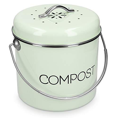 Navaris Cubo de Metal para Compost - Contenedor de Basura orgánica con Tapa y 3X Filtro - 19 x 20 CM - Compostera Vintage para la Cocina de 3 L