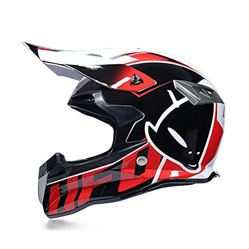 Casco de Motocross MTB, Guantes, máscara y Gafas (Juego de 4), Motocicleta de Choque de Cara Completa, para niños, Quad, ATV, go-Kart, Peso 1200g, Aprobado por el Dot