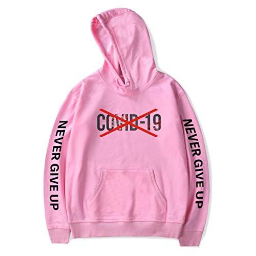 LXHcool 2020 Coron_avirus Divertente Felpa Sono Sopravvissuto Cov_ID 19 Felpa con Cappuccio Donna (Color : Pink, Size : L)