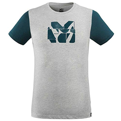 MILLET - Tee Shirt Composite Logo TS SS M Heather Grey/Orion Blue Homme - Homme - Taille m - Gris