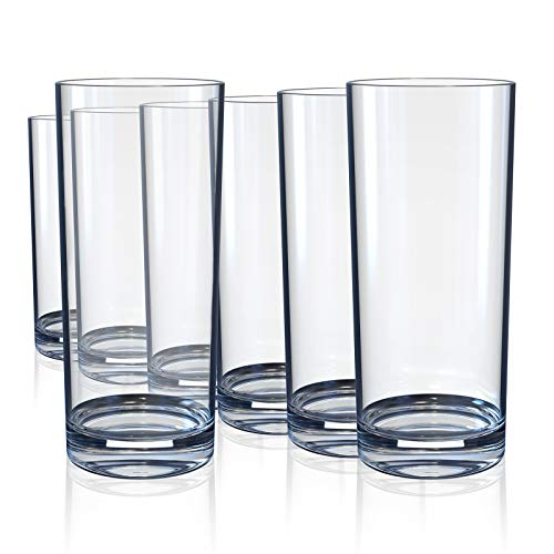 Drinking Glasses Highball Glass Cups for Cocktails Whiskey Water Juice Beer Wine Glass Cups Glassware Heavy Base LeadFree Clear 10 Ounce Sets of 6