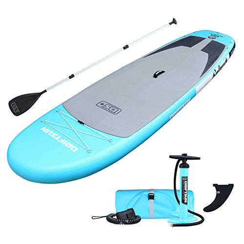 Driftsun 11 Foot Extra Wide Stable Inflatable Paddle Board, Yoga Balance Stand Up SUP Package with Travel Backpack, Adjustable Paddle, Coil Leash, 11 Feet x 34 Inches, Teal