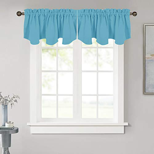 NICETOWN Blackout Window Curtain Valance - 52 inches by 18 inches Energy Efficient Rod Pocket Valance Panel for Apartment/Kitchen/Cafe/Hotel, Teal Blue=Light Blue, 1 PC