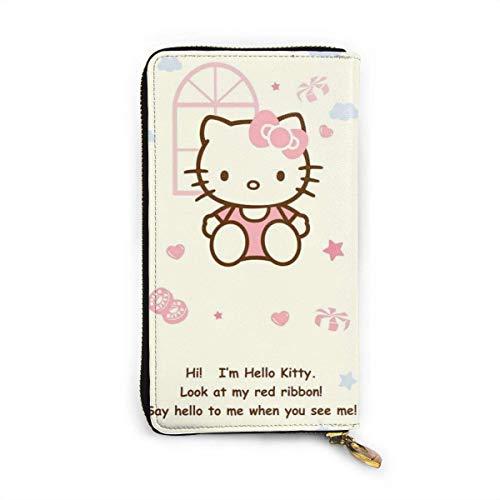 Bolso de piel Hello Kitty con cierre de cremallera, para mujer, a la moda, pulsera, bolsos de mano, bolso para teléfono o crédito, varios titulares