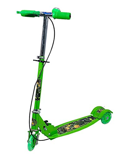 rske basic kids ride on leg push scooter for boys and girls (4 - 8 years old kids) 3 wheel foldable scooter cycle with height adjustment for boys and girls multi colour-Green