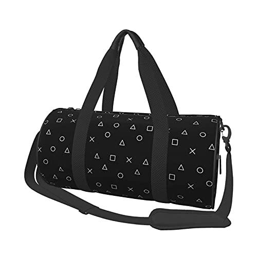 Gym Duffle Bag, Schwarz Gaming Muster Gamer Design Playstation Controller Symbole Schwimmen Sport Reise Gym Tasche mit Schuhfach & Nasstasche für Damen oder Herren
