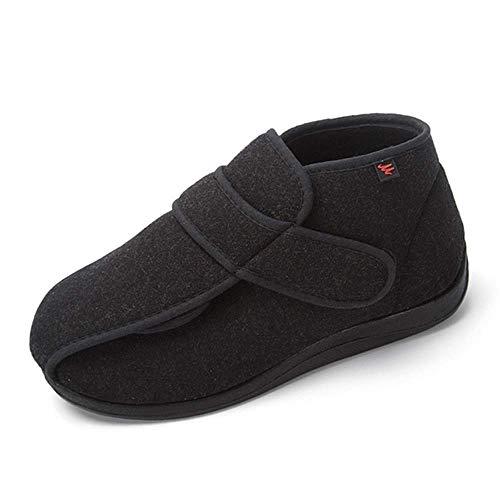 SZFGYJ El Edema Mujeres Zapato Unisex, Zapatillas Caliente Diabética Ajustable Ajuste Ancho De La Sandalia De Peso Ligero Hinchado Caminar Zapato De Las Señoras Artritis Edema Casa Zapatos,Negro,44