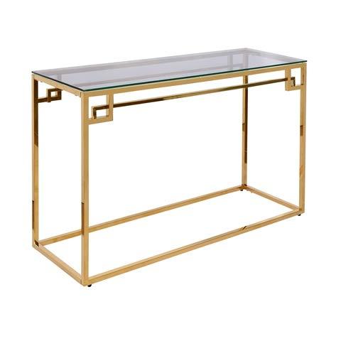 Cribel, Consolle Teka Oro, in Metallo Dorato con Base in Vetro, Oggetto di Design Elegante e Particolare