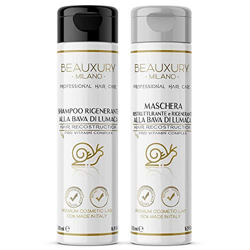 Set regenerador y reparador para cabello y cuero cabelludo | Champú y Mascarilla Ultra Repair 500+500 ML con Baba de Caracol + Keratina + Pro Vitaminas