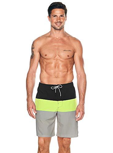 "Reebok Men's Swimwear 9"" Tab Volley Blockhead UPF 50+ Athletic Swim Shorts Bathing Suit Trunks, Black, Medium"