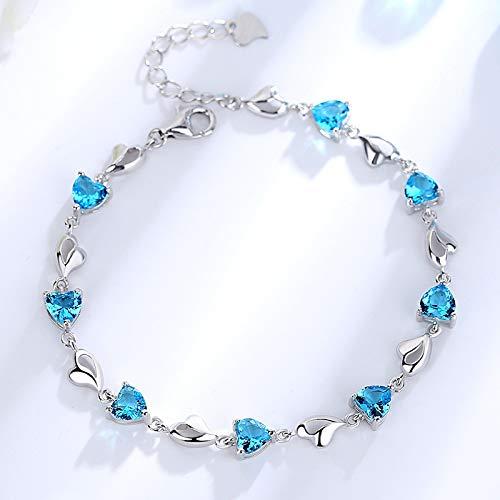 NHGF Pulsera de Plata esterlina s925, Pulsera de corazón de Moda para Mujer, San Valentín, Regalo de cumpleaños, (Blue)