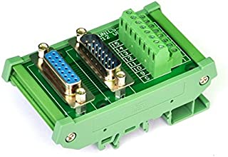 Electronics-Salon DB15 D-SUB DIN Rail Mount Interface Module, DSUB Male / Female, Breakout Board.