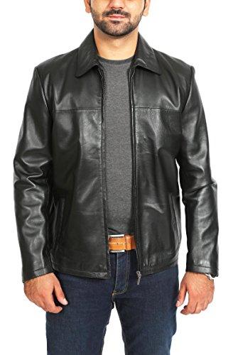 House of Leather Herren Reißverschluss Kasten Klassischer Lederjacke Einfacher Beiläufiger Mantel James Schwarz (XL)