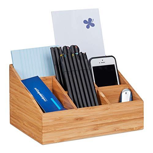 Relaxdays Schreibtisch, 6 Fächer für Stifte, Notizzettel, Briefe, Büroklammern, Desk Organizer Bambus, Natur, H x B x T: ca. 12,5 x 22 x 16 cm