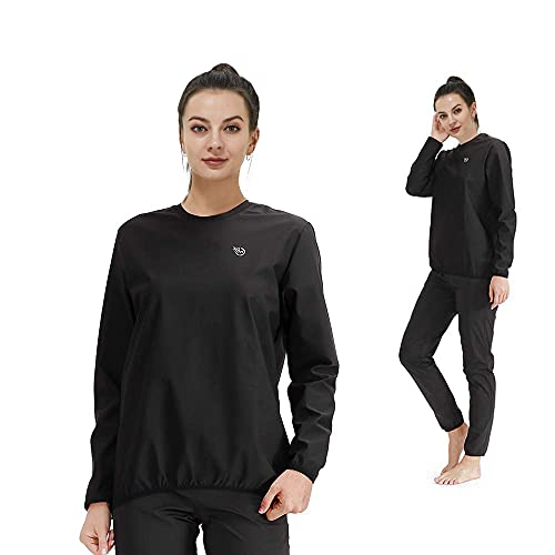 365 DAYS Sauna Suit for Women Weight Loss Sweat Suit Slim Fitness Clothes (4X-Large, Black TOP and Pants)