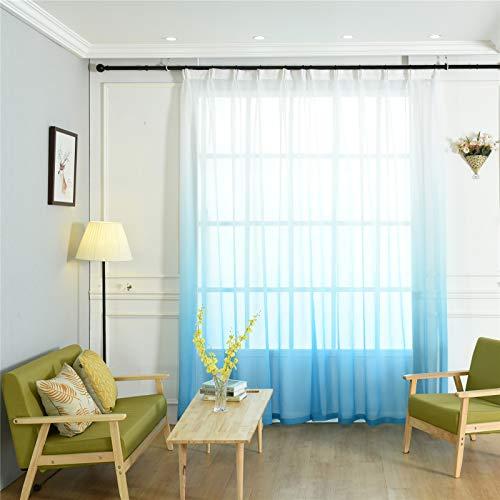 FACWAWF Home Nordic Color Degradado Gasa Cortina Tela Transmisión De Luz Adecuada para Sala De Estar Dormitorio Estudio Balcón Cortinas 132x160cm(2pcs)