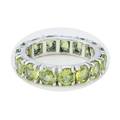 joyas plata piedras preciosas reales forma redonda anillo de peridoto facetado de múltiples piedras - anillo de peridoto verde de plata maciza - nacimiento de agosto leo