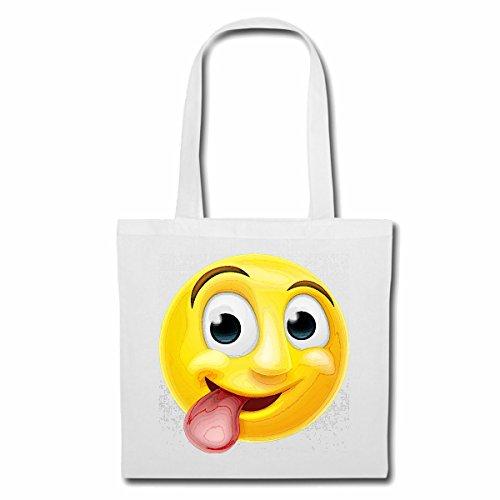 Tasche Umhängetasche Kult Smiley MIT Langer Zunge Smileys Smilies Android iPhone Emoticons IOS GRINSEGESICHT Emoticon APP Einkaufstasche Schulbeutel Turnbeutel in Weiß