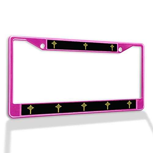 Metal Insert License Plate Frame Celtic Cross A Weatherproof Car Accessories Hot Pink 2 Holes Solid Insert