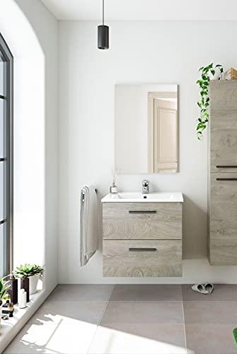 Dmora Mobile bagno sospeso a due cassetti e uno specchio per lavabo da appoggio, colore rovere, cm 60 x 57 x 45 cm, 60x57x45