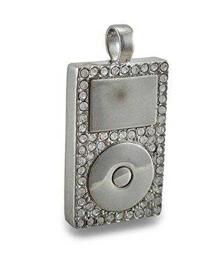 Zeckos MP3-Player-Anhänger mit Chrom-Strasssteinen.