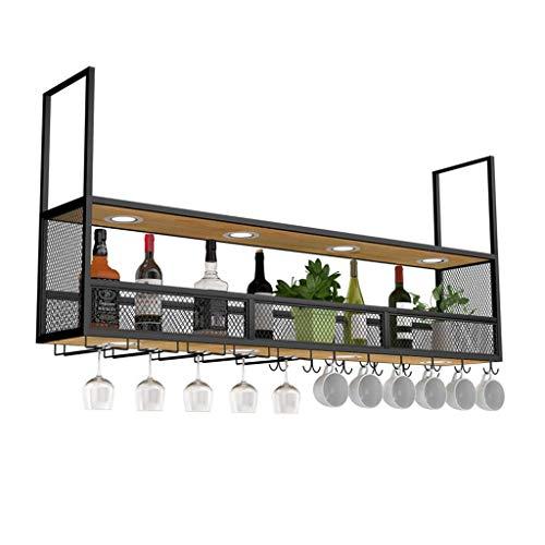DUDDP Rack de vinos Soporte para botellas de vino Hierro forjado Rack para vinos Estante para bar en rack Gabinete para colgar del vino Cubilete Bar al revés Decoración para la lámpara Soporte para es