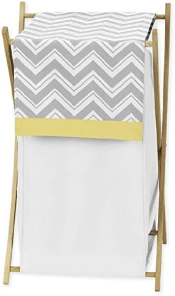 Sweet Jojo Designs Baby Kids Clothes Laundry Hamper For Yellow And Gray Chevron Zig Zag Bedding