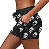 Hongxin Women's High Waist Sports Shorts Gothic Skull Printed Yoga Short Stretch Athletic...