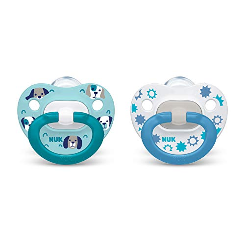NUK Orthodontic Pacifiers, Boy, 6-18 Months, 2 Pack (Colors May Vary)