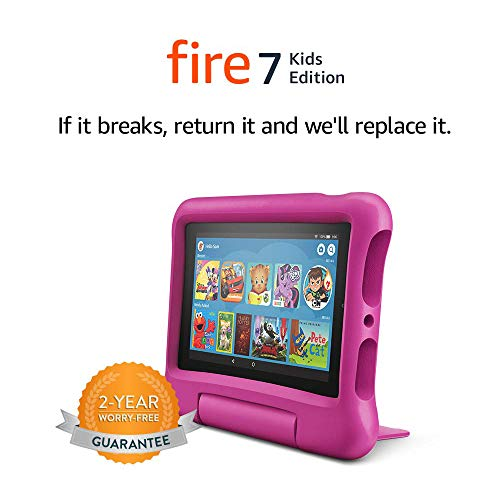 Fire 7 Kids Tablet, 7' Display, 16 GB, Pink Kid-Proof Case
