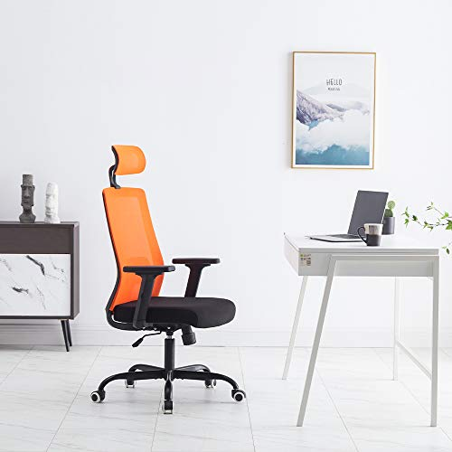 Sidanli Orange Mesh Office Chair, Ergonomic Desk Chair with Soft Seating