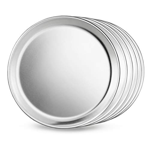 New Star Foodservice 51001 Restaurant-Grade Aluminum Pizza Pan, Baking Tray, Coupe Style, 8-Inch, Pack of 6