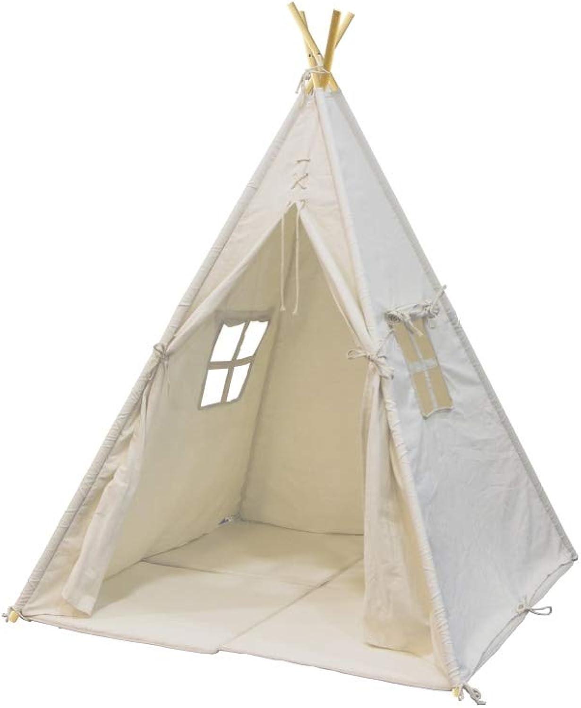 Beauty.Scouts Tipizelt Timo wei aus Baumwolle + Fichtenholz 120x120x159cm Kinderzelt Spielzelt Indianerzelt Tipi Kinder Zelt Fenster Baumwolltuch Spielhaus