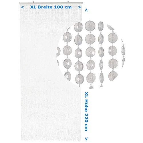 HAB & GUT Türvorhang Mini-DIAMANTEN klar, 100x220 XL sehr dicht, Insektenschutz Perlen Pailettenvorhang