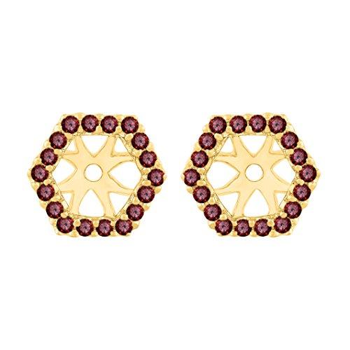 Garnet Earring Jackets in 14K Yellow Gold (1/4 cttw)
