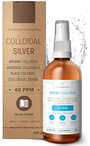 Premium Colloidal Silver Spray 40 PPM 100mL  100% Natural  Superior Concentration, Smaller Particles = Better Results  Certified by 3 Independent Laboratories  Choose a Specialist  Katharos